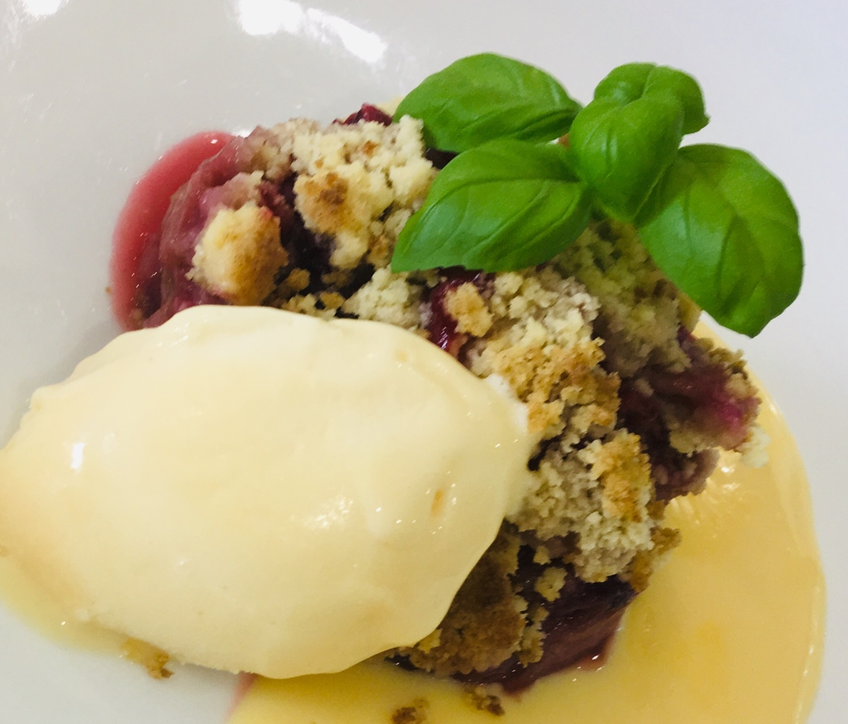 Rhubarb & Summer Berry Crumble With Ice Cream & Custard